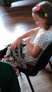 Girl holding Tegan Tegu