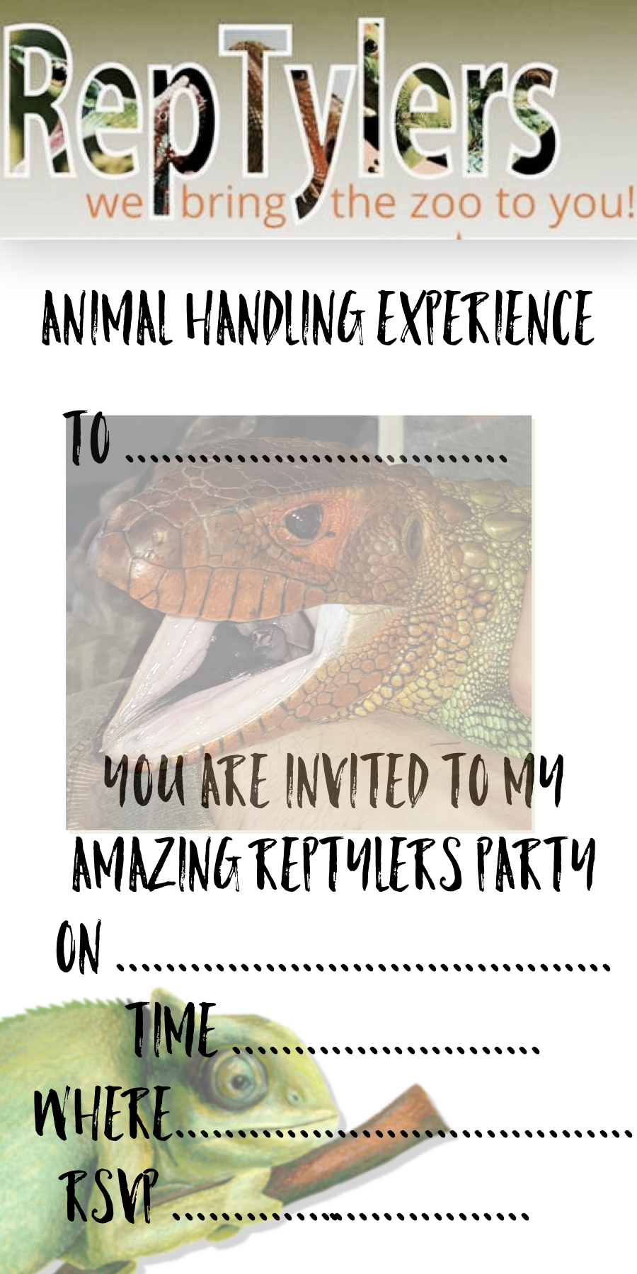 Party Invitation Template | RepTylers - We Bring The Zoo To You ...